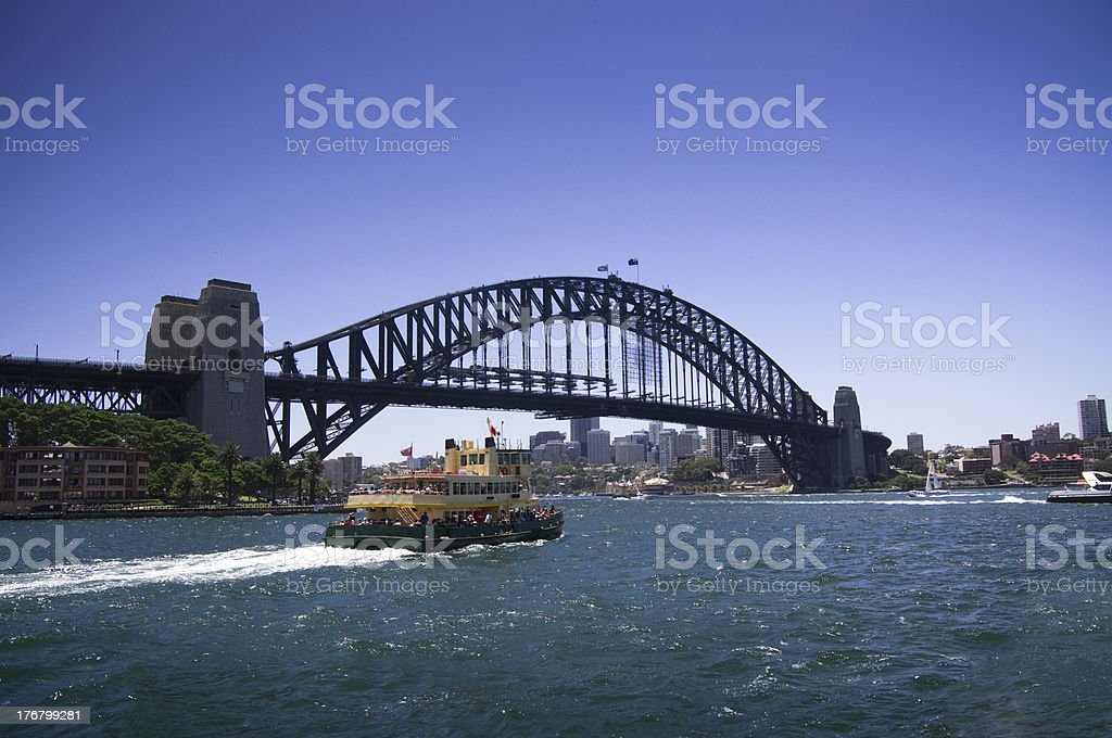 Ferry with Sydney Harbour Bridge in background royalty-free stock photo