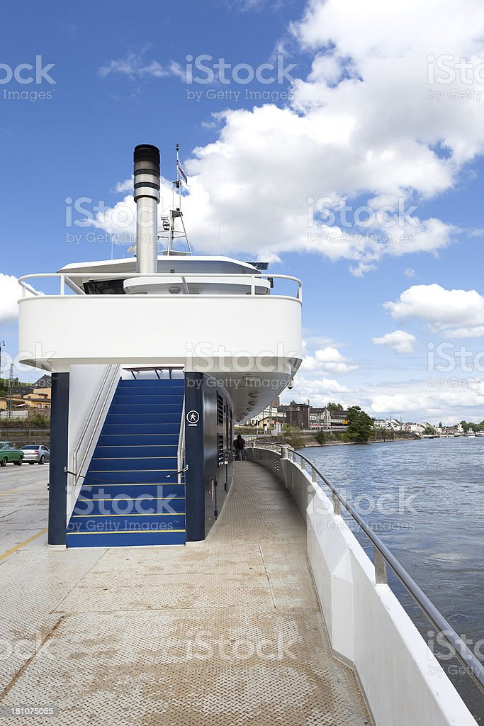 Ferryboat across River Rhine royalty-free stock photo