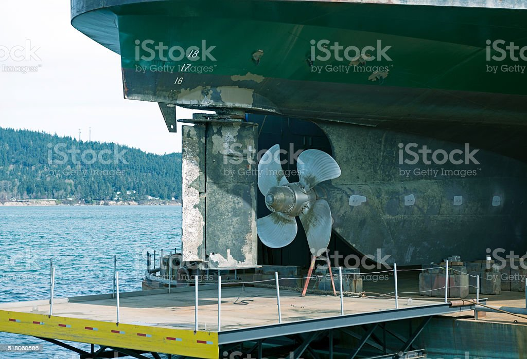 Ferryboat at dry dock in Washington state stock photo