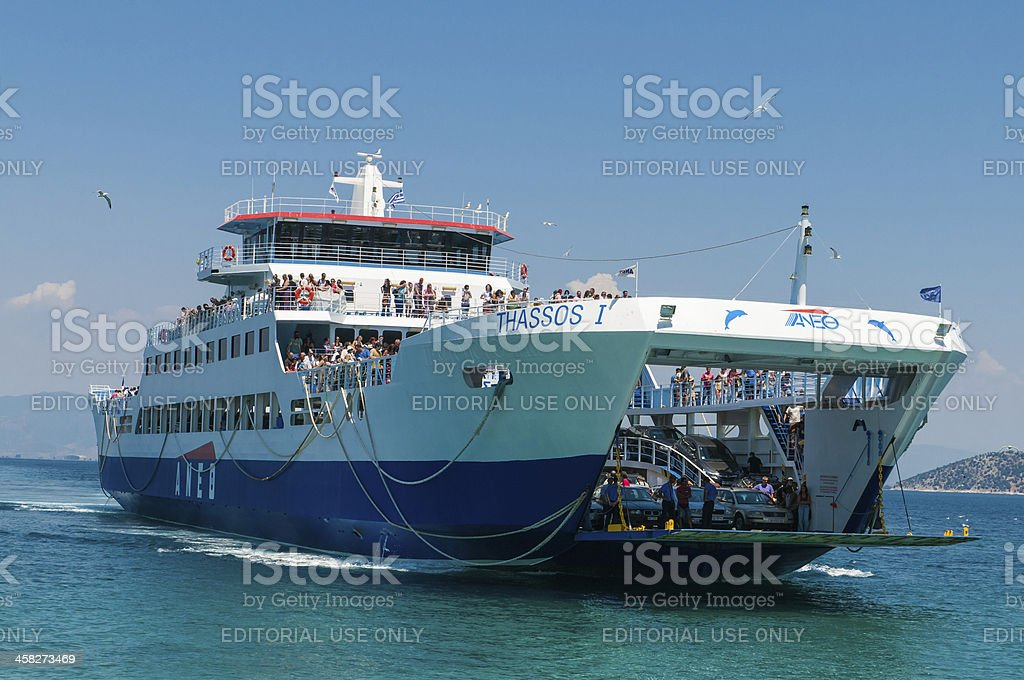 Ferryboat between Keramoti and Thassos island in Greece royalty-free stock photo