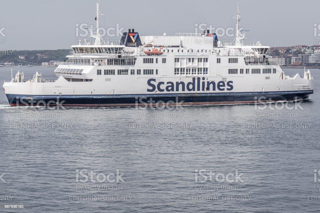 Ferryboat between Sweden and Denmark stock photo