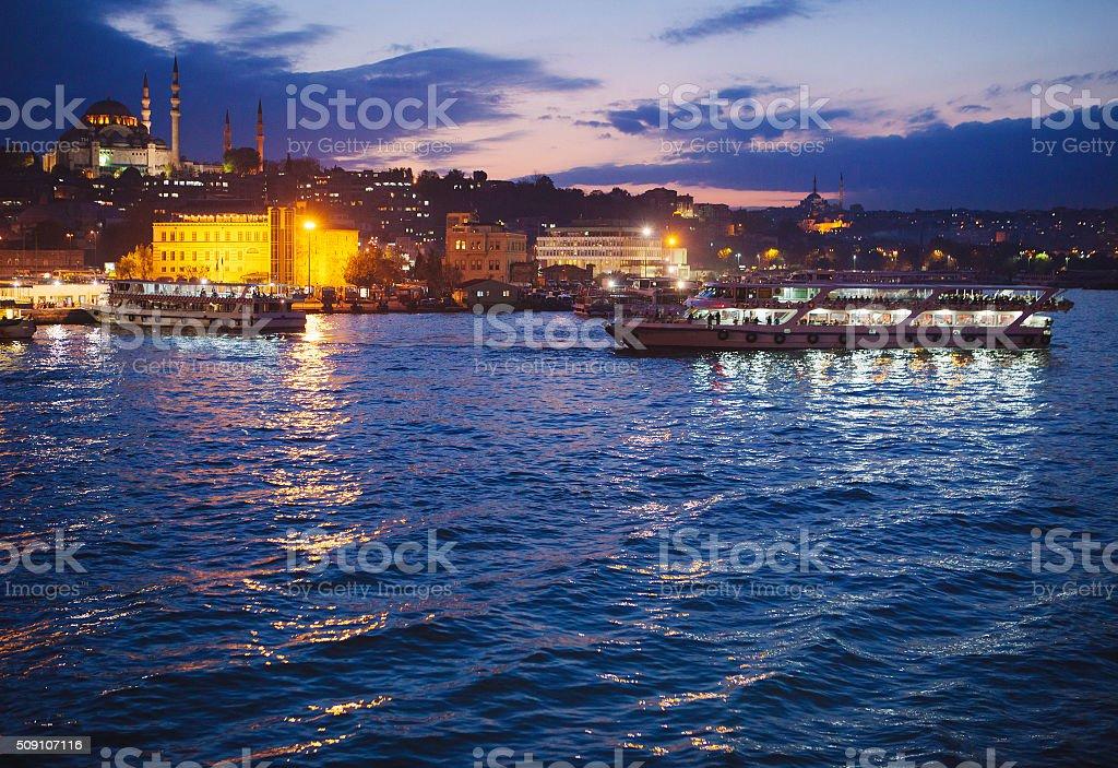 Ferryboat crossing the Bosporus strait stock photo