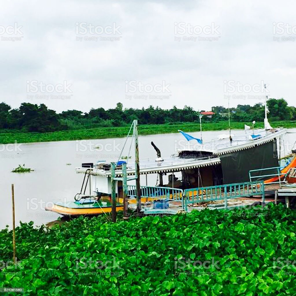 Ferryboat for crossing River stock photo