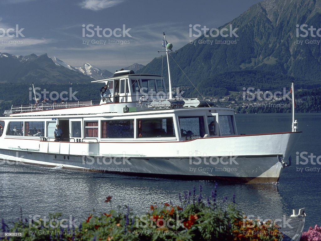 Ferryboat on Lake thun. Switzerland royalty-free stock photo