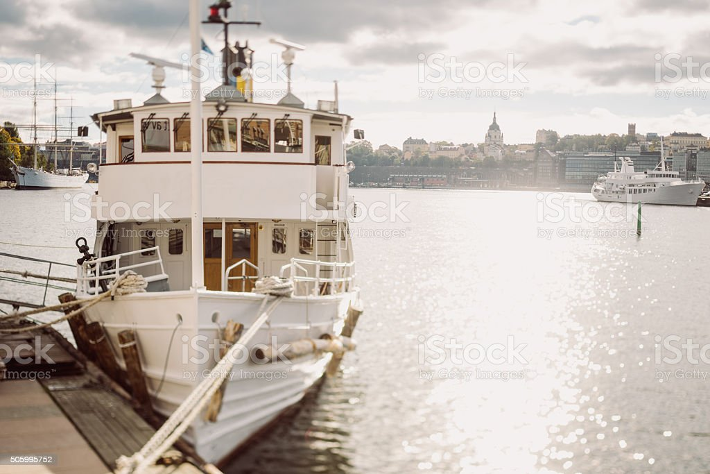 Ferryboat on the berth in Stockholm stock photo
