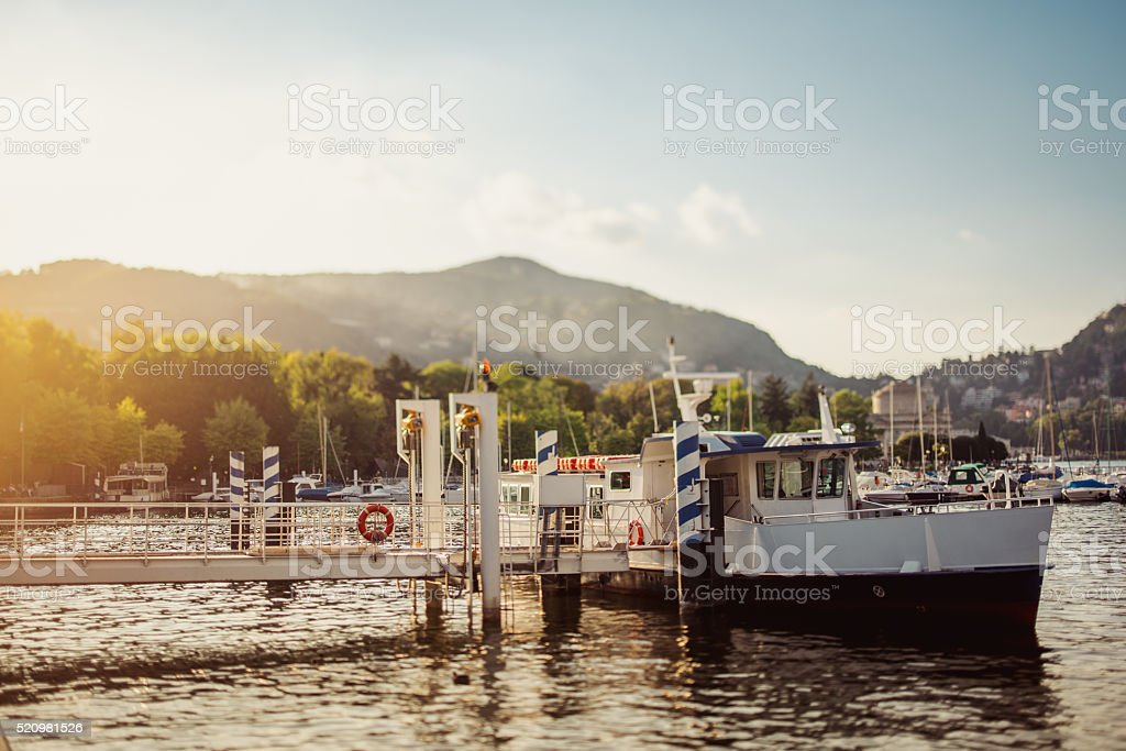 Ferryboat on the berth, Lake Como stock photo