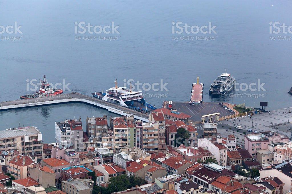 Ferryboat Port City of Çanakkale in Turkey stock photo