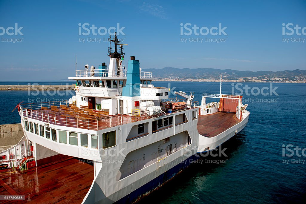Ferryboat ready to leave Villa San Giovanni Strait of Sicily stock photo