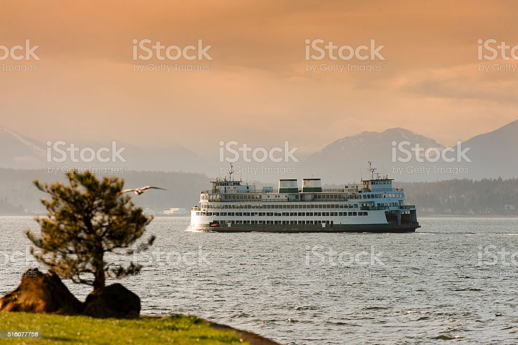 Ferryboats and Mountains stock photo