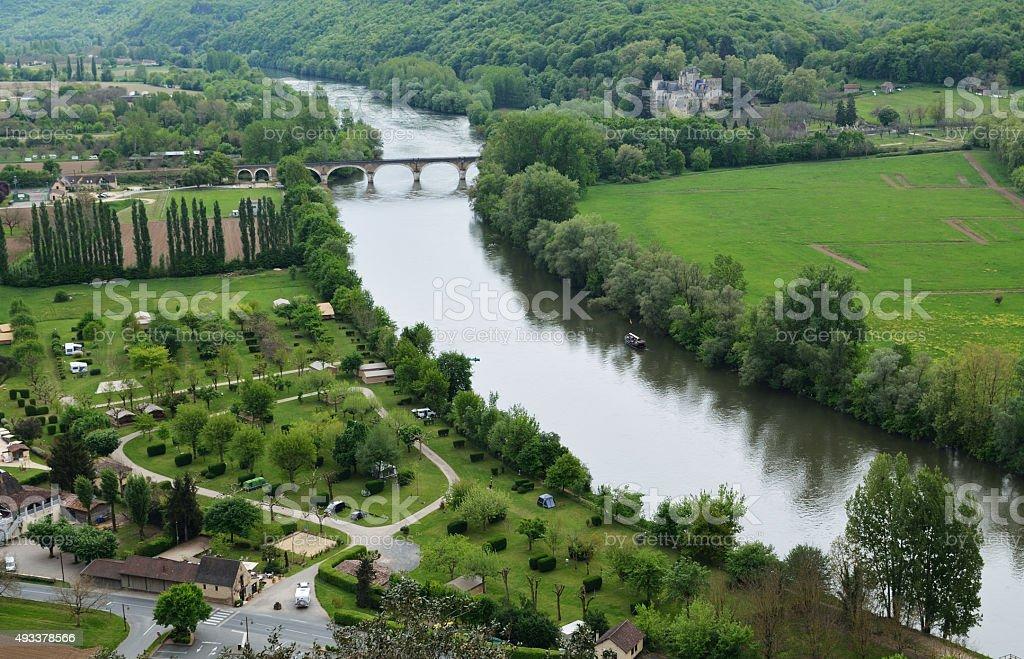 Fertile valley of the Dordogne river stock photo