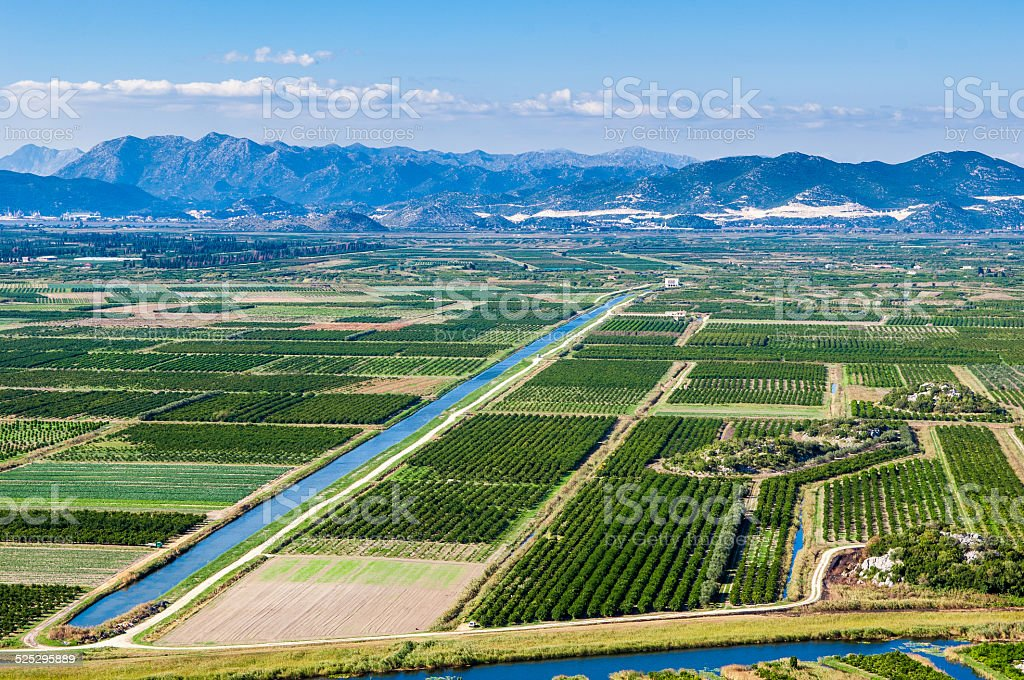 Fertile valley with crop fields stock photo