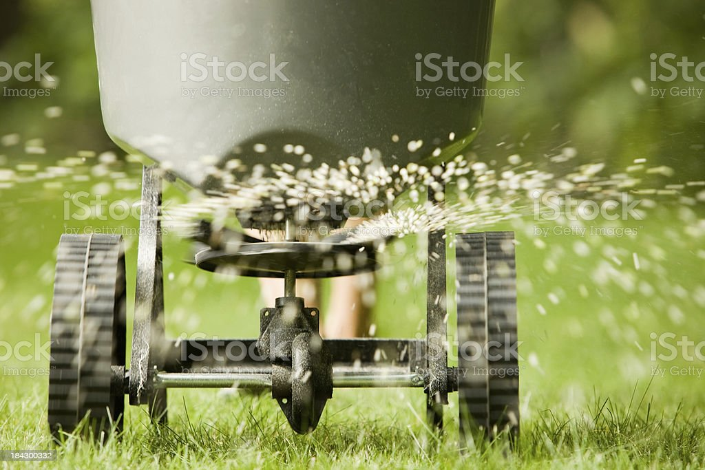 Fertilizer pellets spraying from spreader stock photo