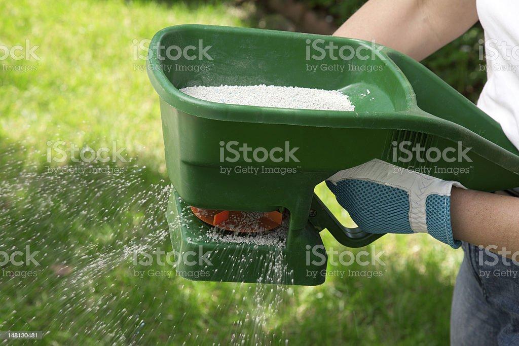 Fertilizing Lawn stock photo