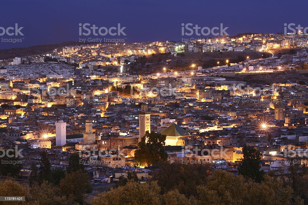 Fes at night. Morocco. stock photo