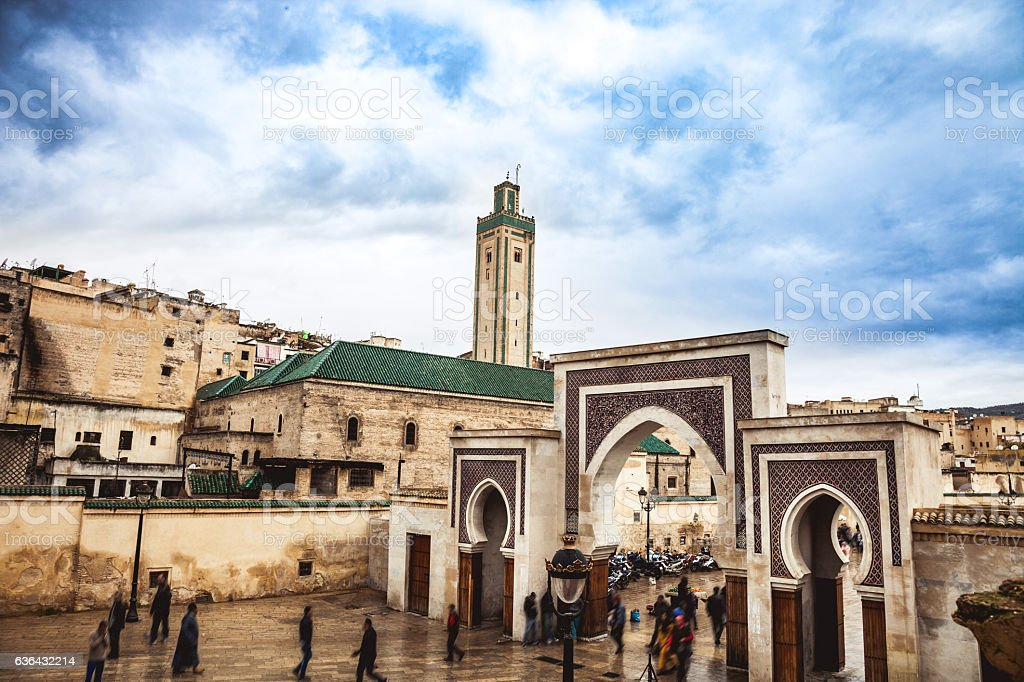Fes cityscape in Bab Rcif, Morocco stock photo