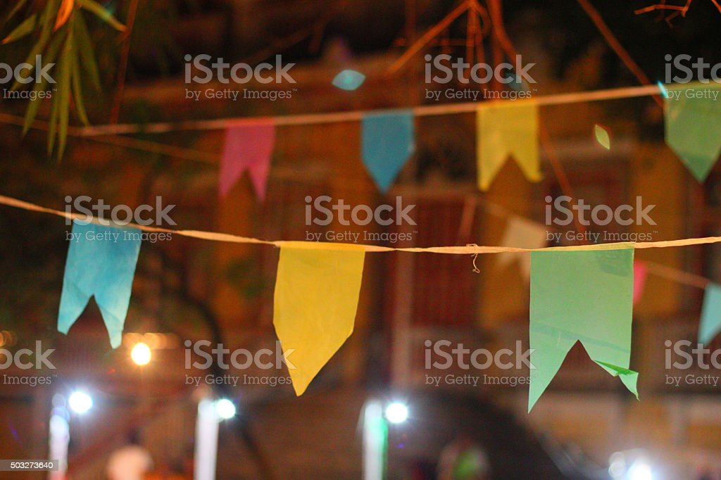 Festa Junina celebration flags in Rio de Janeiro, Brazil stock photo