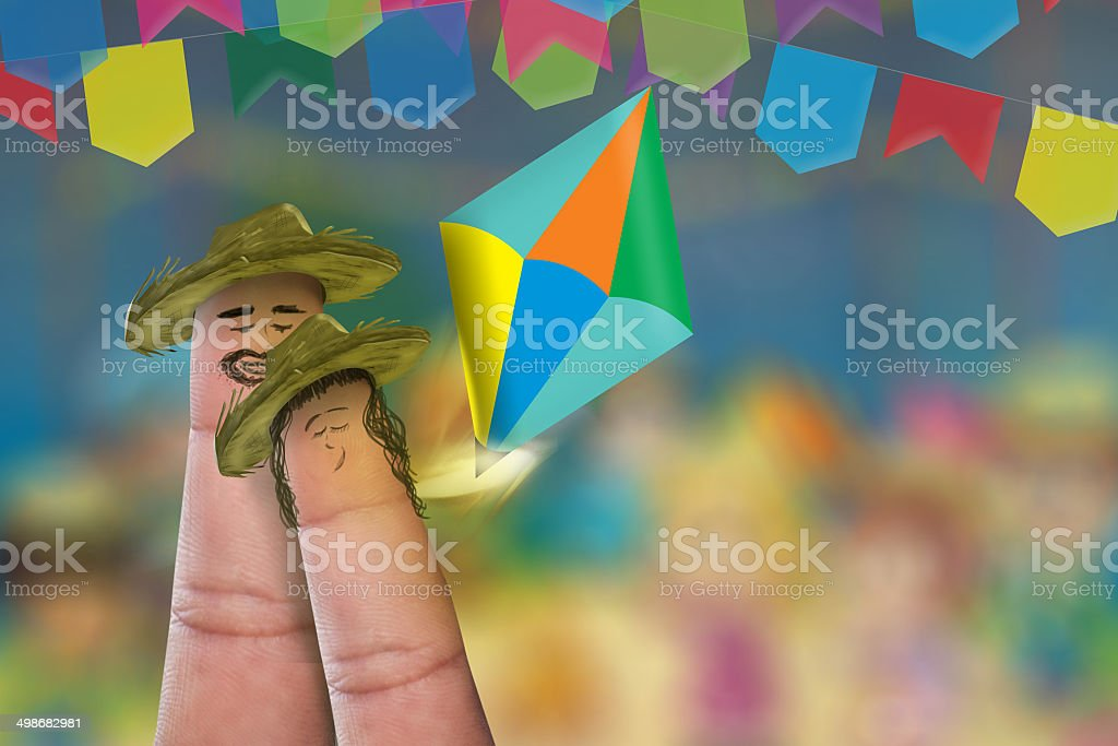 Festa Junina Party with a lovely finger couple stock photo