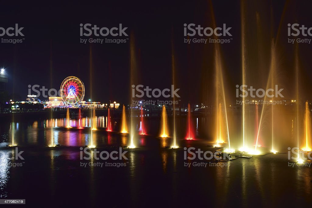 Festival City light & water show stock photo
