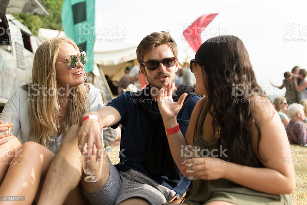 Festival discussions stock photo