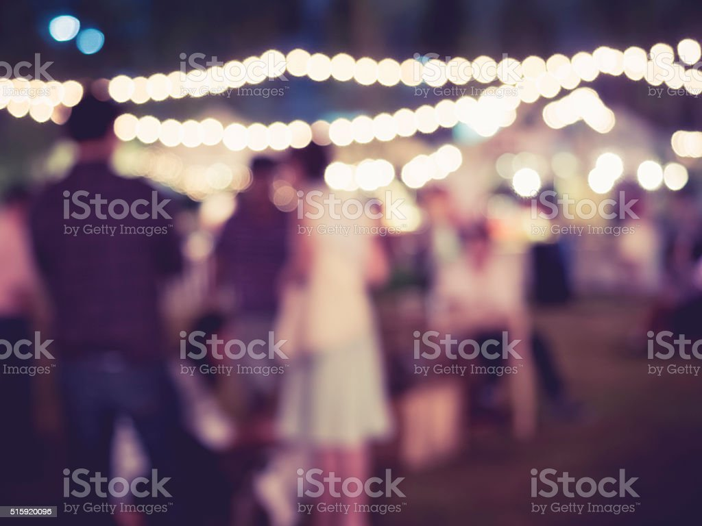 Festival Event Party Night Outdoor with People Blurred Background