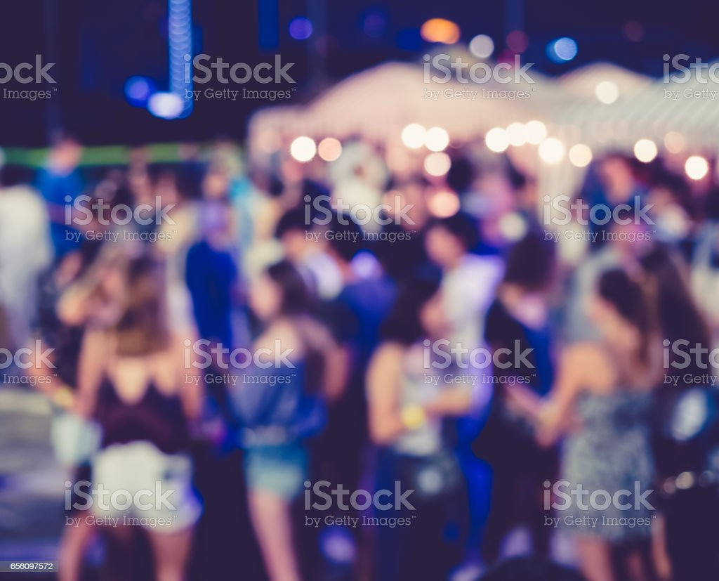 Festival Event Party outdoor with Blurred People stock photo