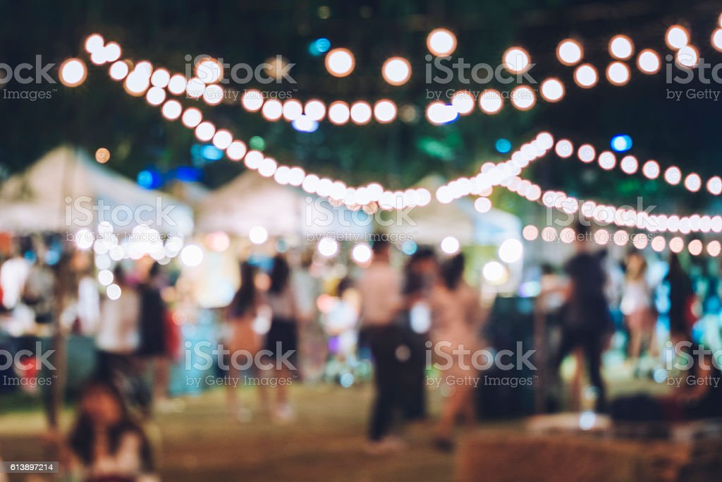 Festival Event Party with Hipster People Blurred Background stock photo