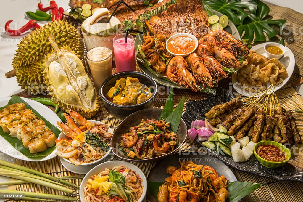 Festival fortune lunch or dinner buffet in Thai style in stock photo