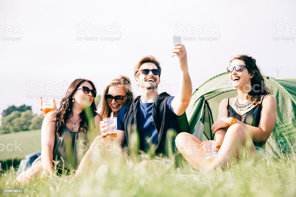Festival friends selfie stock photo