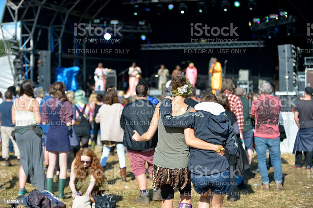 Festival goers  at the Wickerman Festival stock photo