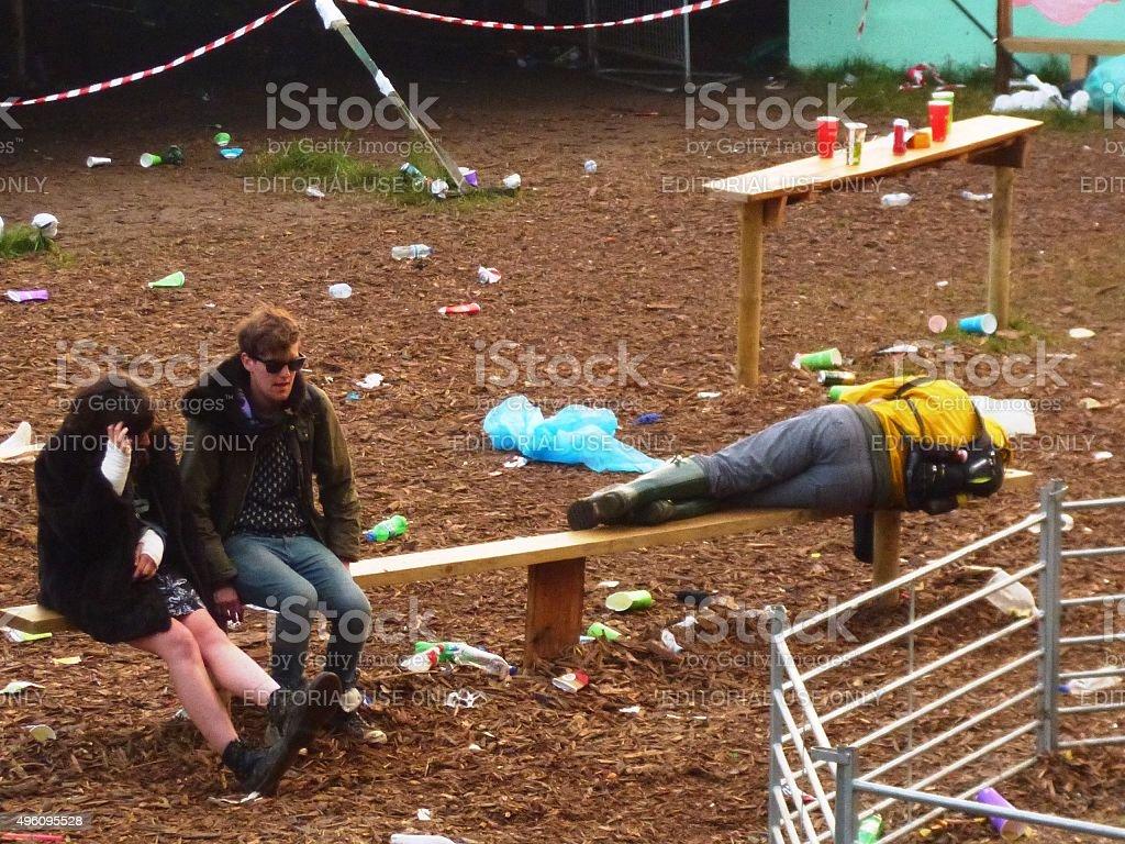 Festival Goers Sleep Everywhere stock photo