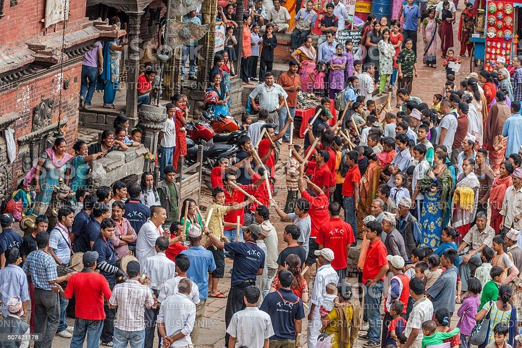 Festival in Bhaktapur Nepal. stock photo