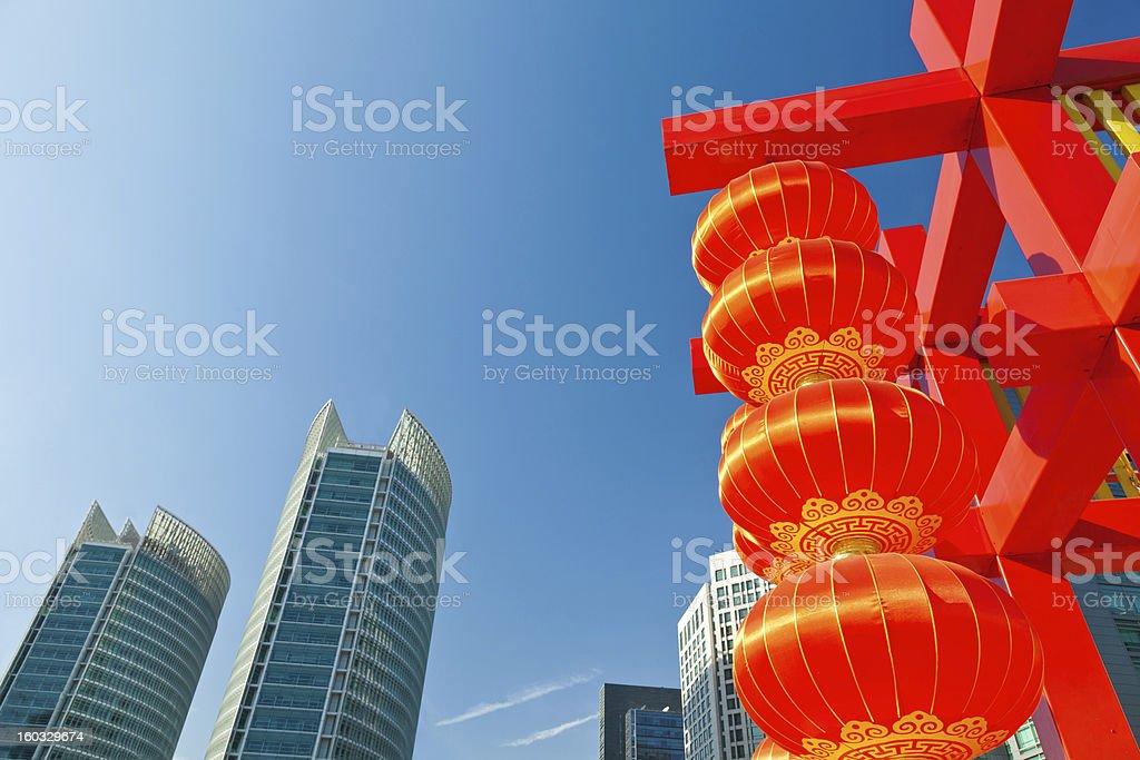 Festival lantern in the modern urban background royalty-free stock photo