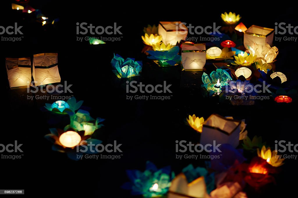 Festival of floating candles stock photo