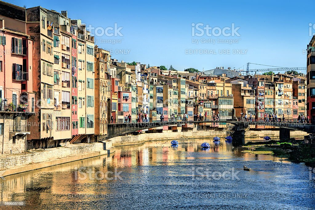 Festival of floral decorations in Girona, Catalonia, Spain stock photo
