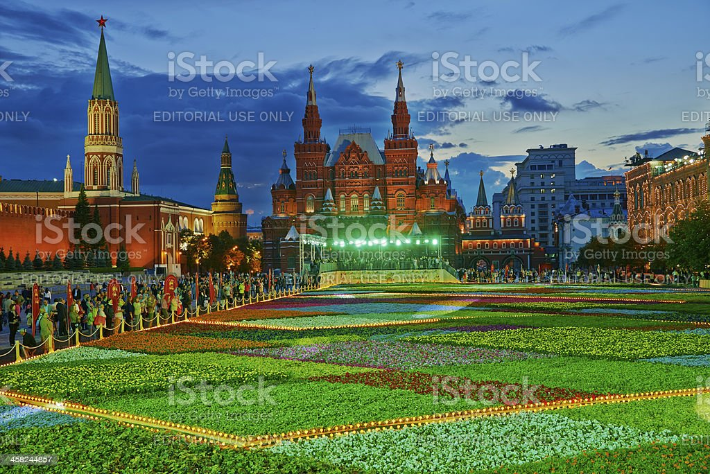 Festival of flowers on Red Square stock photo