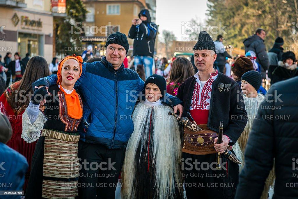 Festival of Mummers or Kukeri in Razlog, Bulgaria stock photo