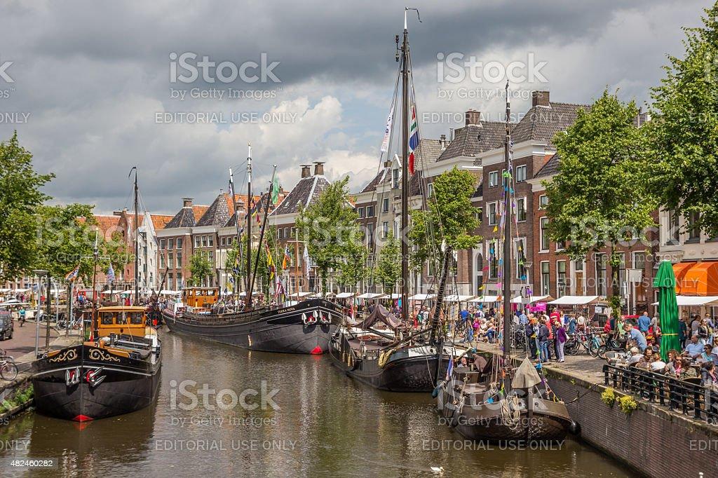 Festival of old ships in the center of Groningen stock photo