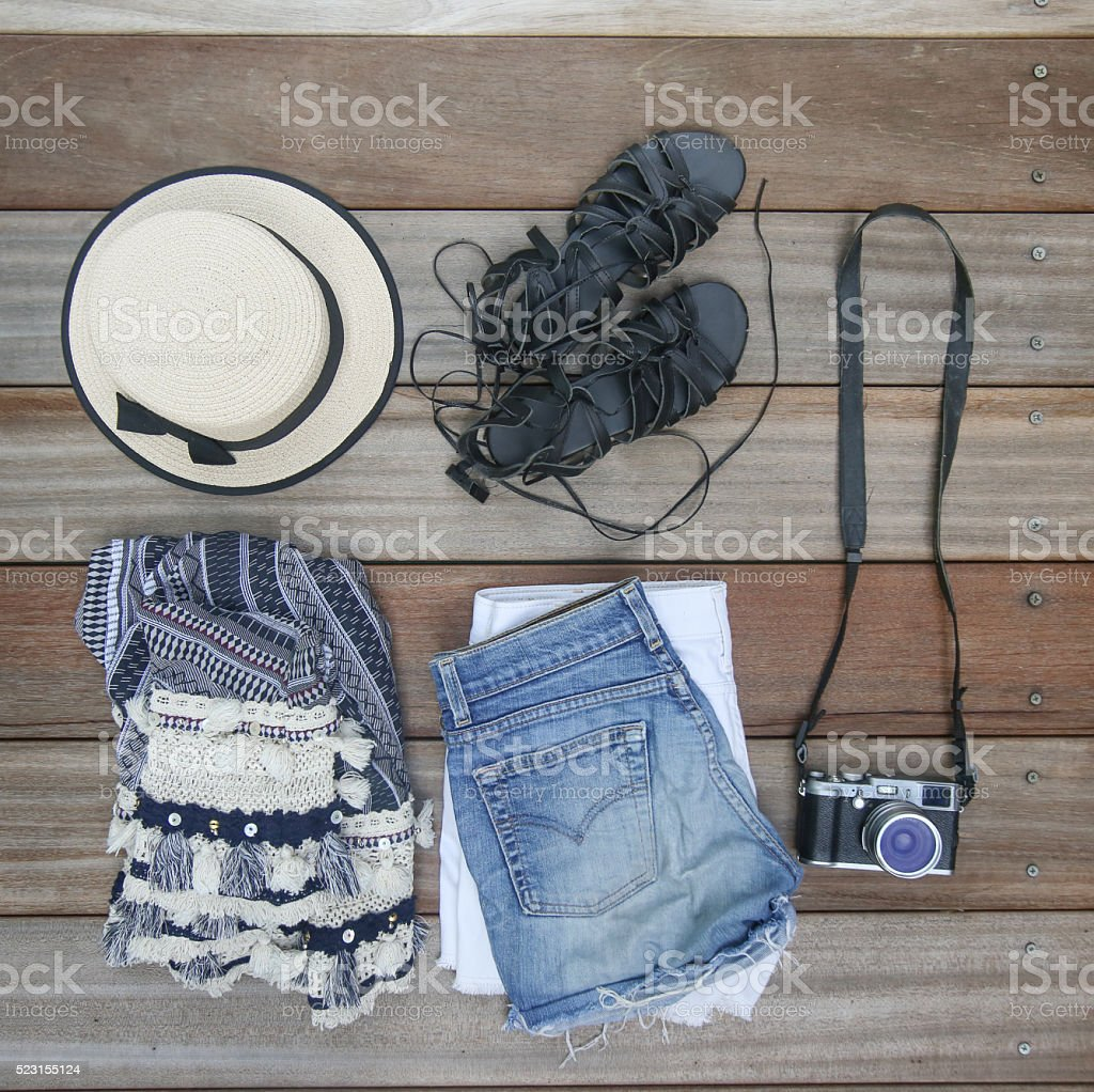 Festival or vacation fashion items stock photo