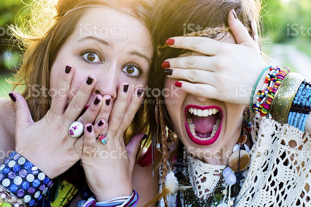 Festival people, facial expression stock photo