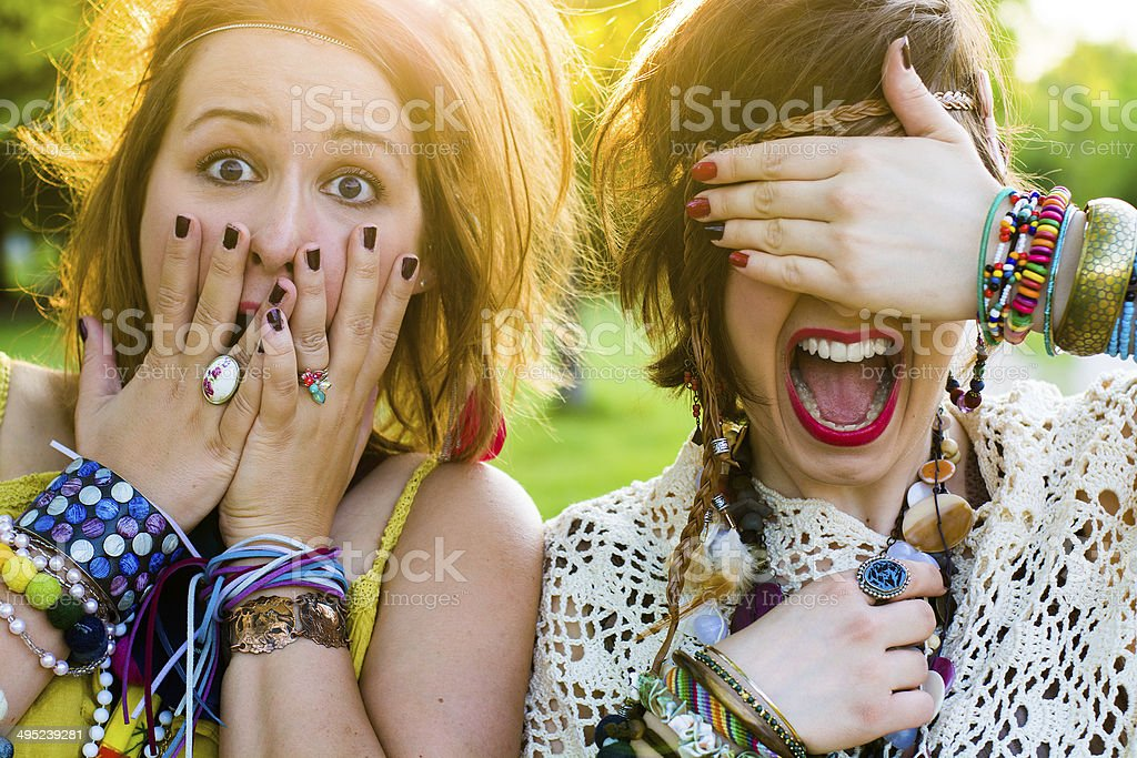 Festival people - young woman with facial expression stock photo