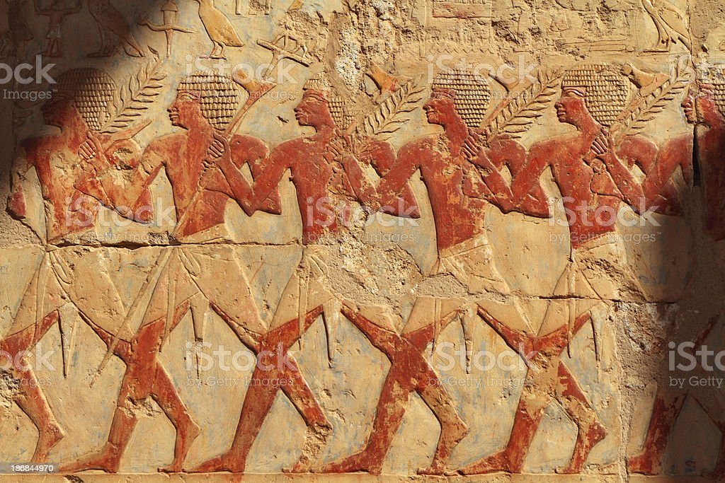 Festival Procession, Chapel of Hathor, Hatshepsut's Temple, Luxor, Egypt stock photo