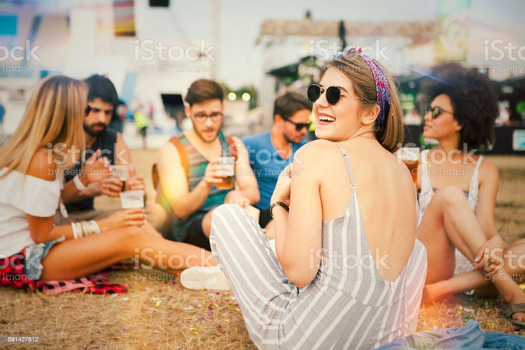 Festivalgoers stock photo