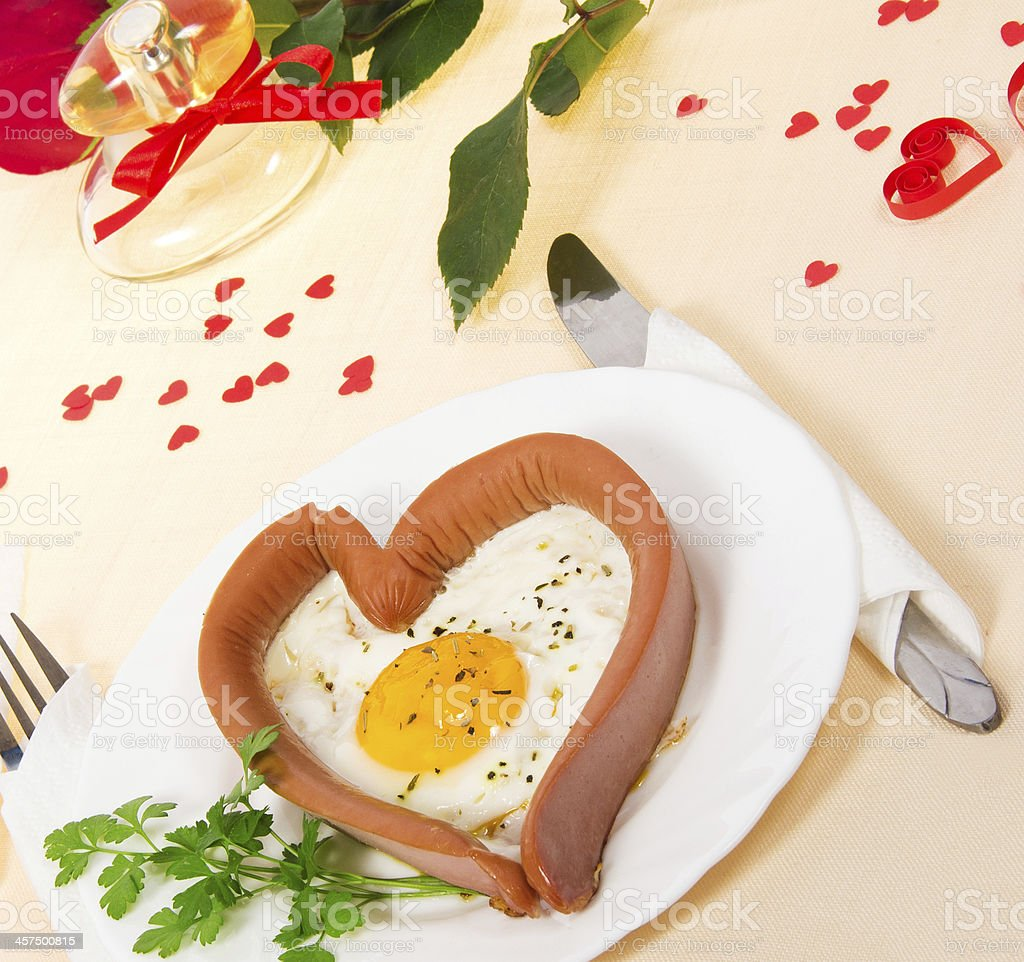 Festive a breakfast on Valentine's Day stock photo