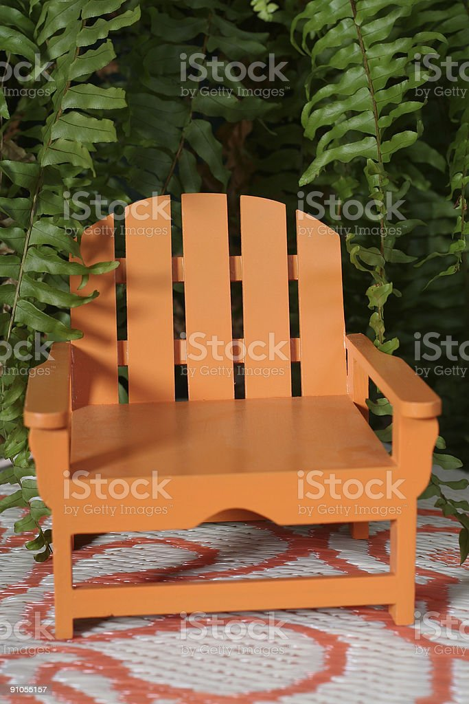 Festive Adirondack chair stock photo
