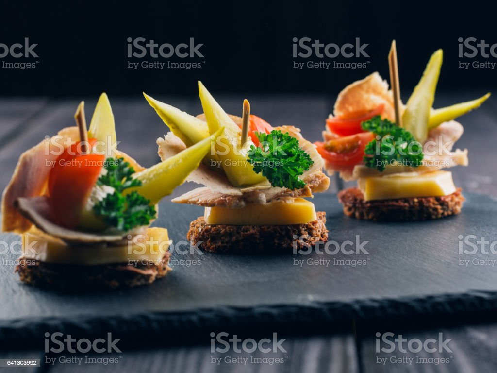 Festive Appetizer with Bread and Meat stock photo