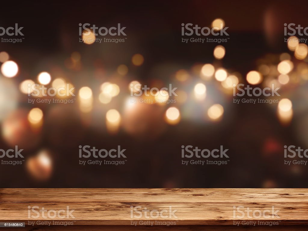 Festive background in front of empty table stock photo