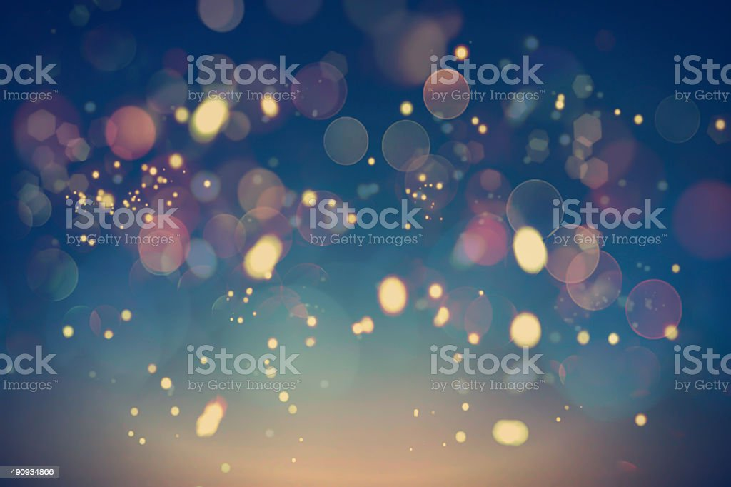 Festive Background with Bokeh and Golden Lights stock photo