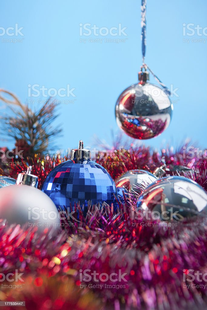 festive balls and toys for new year royalty-free stock photo