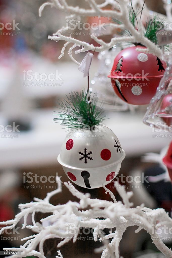 Festive Baubles On Christmas Tree stock photo