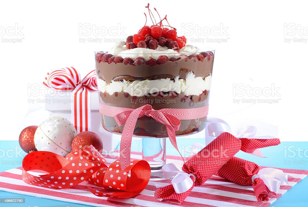 Festive Black Forest Trifle Dessert stock photo